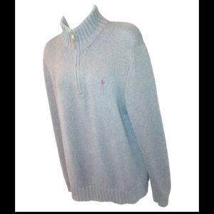 Polo by Ralph Lauren Gray polo half zip sweater.